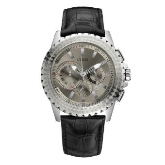 Guess Watch Black Stainless-Steel Case Leather Mens NWT ...