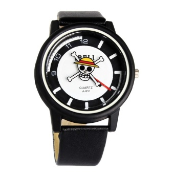 Ibeli 1103 Leather Watch with Second Hand Rotating Pirate Skull Design #0127