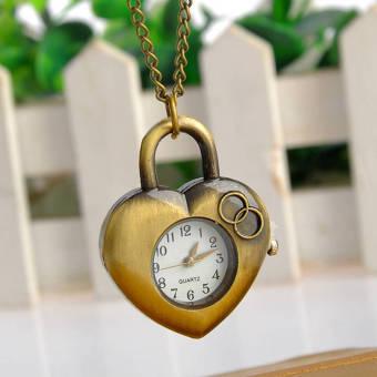 Marvogo Fashion Creative Antique Bronze Heart Love Pocket Watch Necklace with - intl