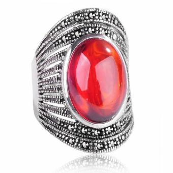 Jade Angel Women's Vintage Old Style Red Agate Marcasite Sterling Silver Ring - Intl
