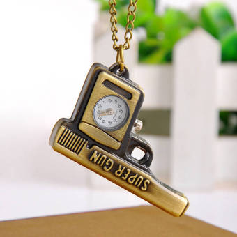 Marvogo Fashion Creative Antique Bronze Gun Pocket Watch Necklace With Chain - intl