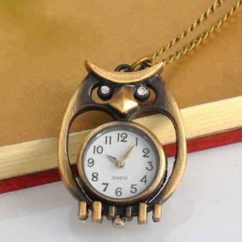 Marvogo Fashion Creative Antique Bronze Owl Pocket Watch Necklace with Chain - intl