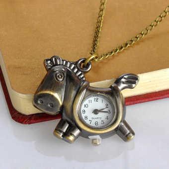 Marvogo Fashion Antique Bronze Cartoon Horse Pony Pocket Watch Necklace with Chain - intl