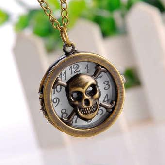 Marvogo Fashion Creative Antique Bronze Skull Pocket Watch Necklace With Chain - intl