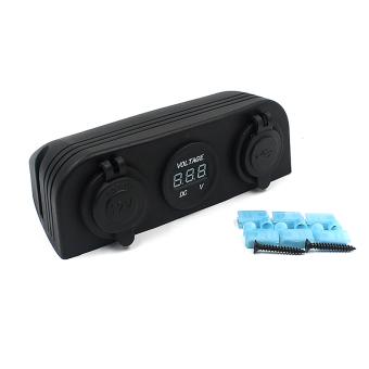12V Auto Car Cigarette Lighter Sockets Voltmeter USB Charger Adapter Black - intl