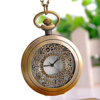Marvogo Fashion Creative Antique Bronze Engrave Round Pocket Watch Necklace with Chain - intl
