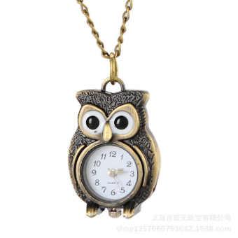 Marvogo Antique Bronze Owl Pocket Watch Necklace with Chain - intl