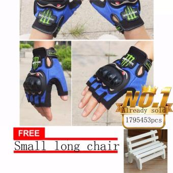 JAPAN and USA best selling free Small long chair BLUE Fingerless Motorcycle Gloves Half Finger Guantes Motorcross Bicycle Riding Racing Cycling Sport Gears Breathable Luvas