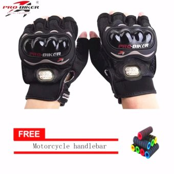 lazada and USA best selling BLCAK/SLIVER Fingerless MotorcycleGloves Half Finger Guantes Motorcross Bicycle Riding Racing CyclingSport Gears Breathable Luvas (Black) With Motorcycle handlebarsleeve