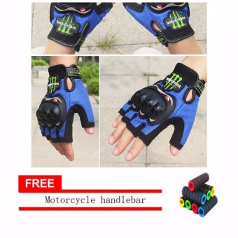 lazada and USA best selling colour BLUE Fingerless Motorcycle Gloves Half Finger Guantes Motorcross Bicycle Riding Racing Cycling Sport Gears Breathable Luvas (Black) With Motorcycle handlebar sleeve