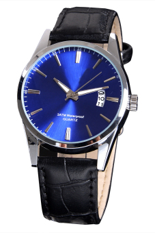 Luxury Leisure Leather Quartz Date Mens Wrist Watch (Blue)