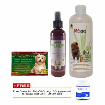 Madre de cacao soap, 4 in 1 shampoo, Tick Buster Fipronil Spray Treatment with Free Pure Deep Sea Fish Oil Omega 3 Supplement 100 Soft Gels