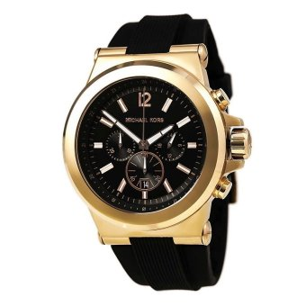 michael kors mens chronograph black rubber gold
