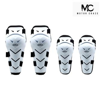 Motor Craze Vemar Knee and Elbow Body Guard Armour SupportMotorcycle Dirt ATV Racing Gear Pads (White)