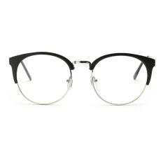 stylish eyeglasses s832  New Optical frames Metal Plain mirror Retro Vintage Round Eyewear Nerd Stylish  Eyeglasses Hipster Myopia Black+ Silver