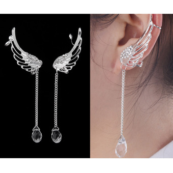 OH Angel Wing Crystal Silver Plated Earrings Drop Dangle Ear Stud Cuff Clip