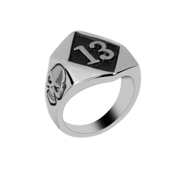 Punk Men's Lucky 13 Stainless Steel Motorcycle Skull Ring Silver US Size 8 - picture 2
