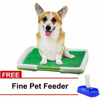 Puppy Potty Trainer Indoor (Green) with FREE Fine Pet Dog and Cat Pet Feeder