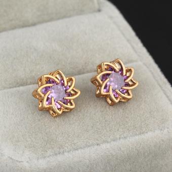 Purple Crystal Lotus Flower Earring Woman Ear Stud 18K Gold Filled (Intl) - picture 2