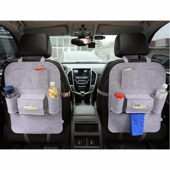 SNS Auto Car Seat Back Bag Organizer Holder Set of Two - Grey