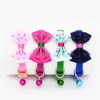 Soft Adjustable Nylon Cat Breakaway Collar Kitty Puppy Small DogBowtie Flower Necklace with Bell - intl