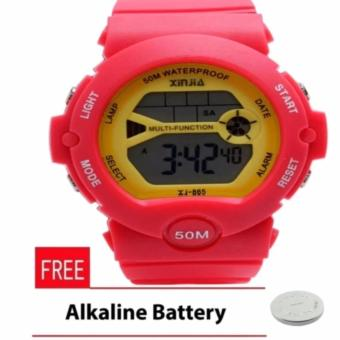 Xinjia Unisex Red/Yellow Plastic Strap Watch XJ-865 with FREE Alkaline Battery