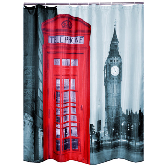 Cocotina vintage telephone booth big ben print shower for Bathroom accessories lazada