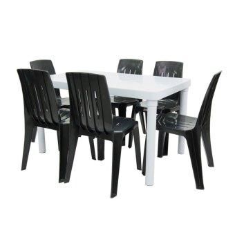 Cofta Diamond Table Rectangle And Chair 7 Piece Set Black