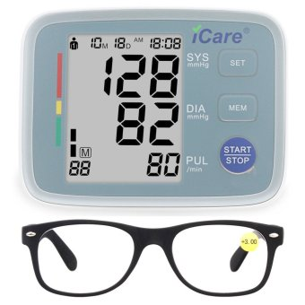 icare ck801 upper arm home blood pressure monitor and heartbeat detector grey and reading. Black Bedroom Furniture Sets. Home Design Ideas
