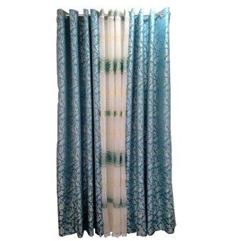 Royal Elegant Design Curtain Blue Set Of 3