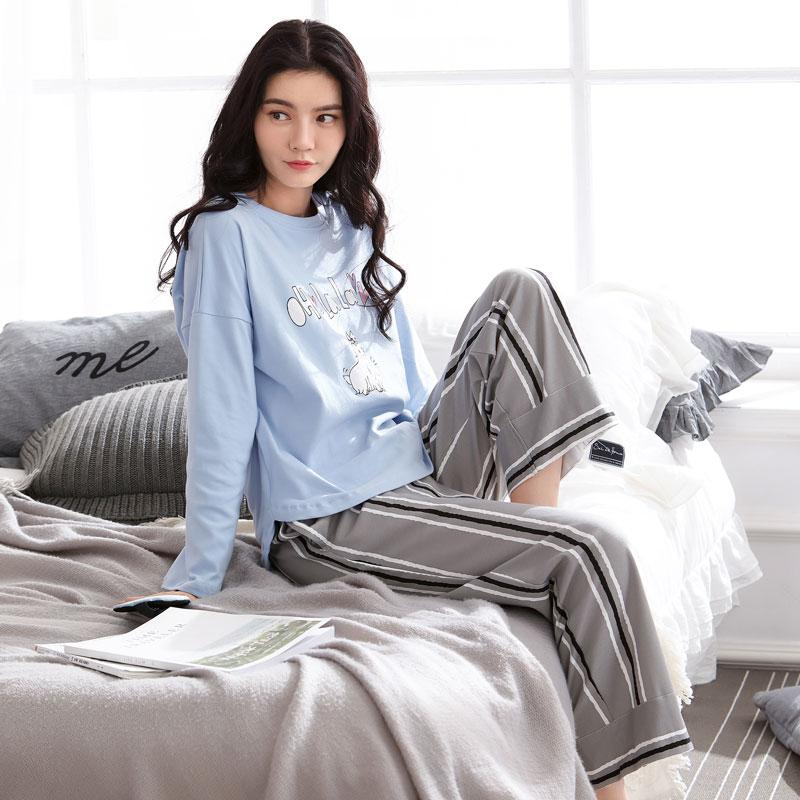 37caef2b242a Does Bessie Dream Pajamas women Autumn Pure Cotton Long Sleeve Korean Style  Fresh Students Home Service
