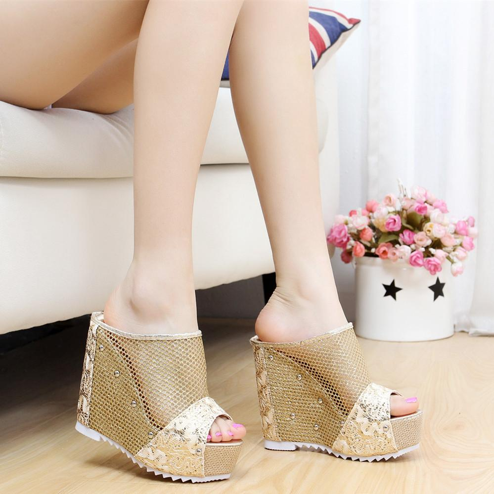 b3a83ac4c Slanted Heel Peep-toe Sandals Thick Bottomed Super High Heels Slipper  Summer Muffin Elevator Waterproof