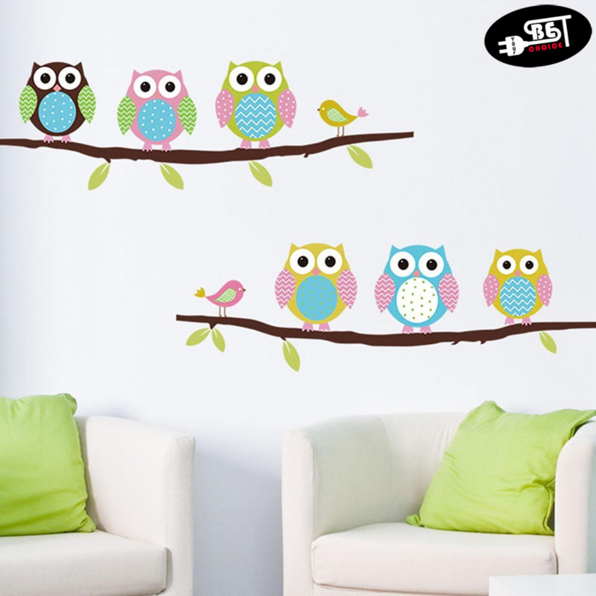 Wall Stickers For Sale Decals Prices Brands Review In Circuit Board Tree Vinyl Art Graphic Ybc Cartoon Cute Six Owl On The Decor Mural Kid Room Decal