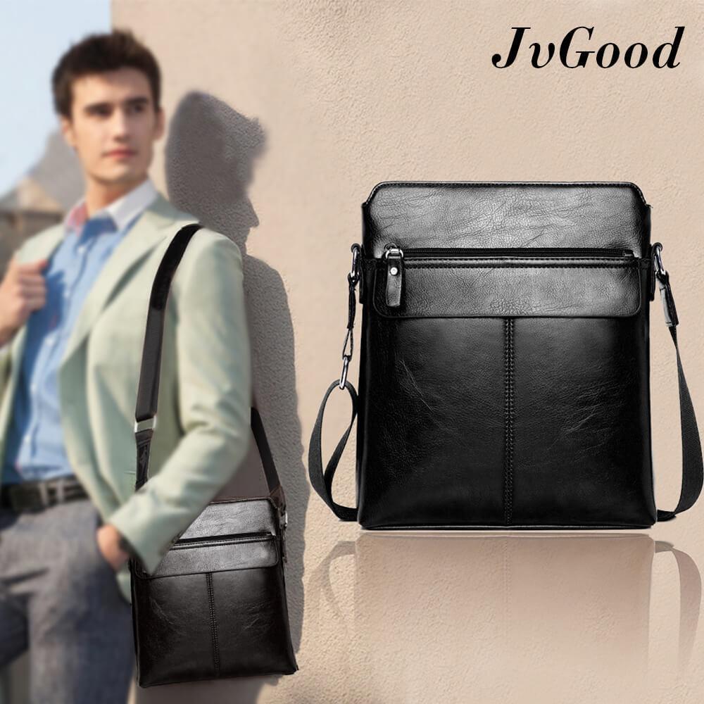 Jvgood Pu Leather Men Bag Sling Shoulder Crossbody Messenger Casual Business Fashion