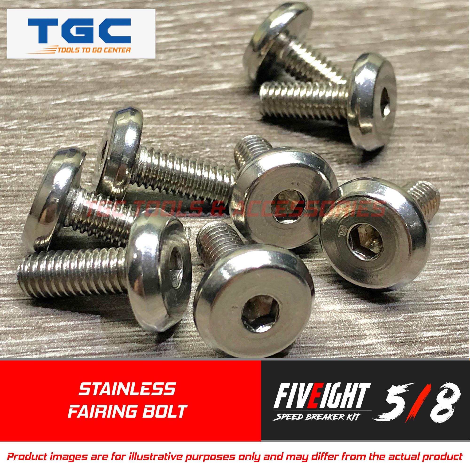 Five Eight Speed 8pcs Motorcycle Fairing Body Bolt ( M 6 X 16 Mm ) And 1 Pc Allen Key Disc Bolt Stainless Wafer Style Head Screw For Footboard And Flaring Bolt Fairing Bolt Tgc By Tgc Tools & Accessories.