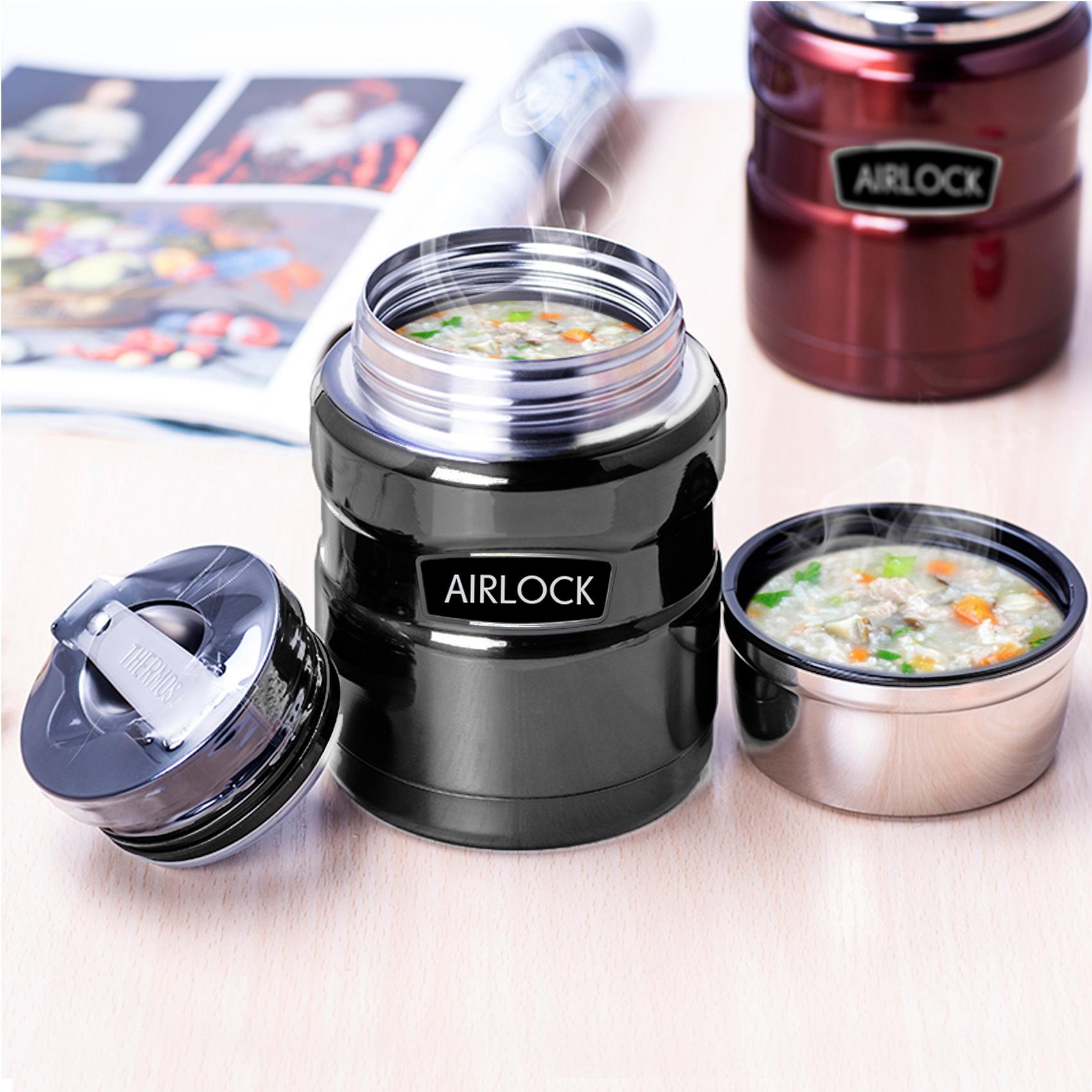 700ml Airlock Stainless Steel Vacuum Insulation Barrel Stew Beaker (gray) By Latest Gadget.