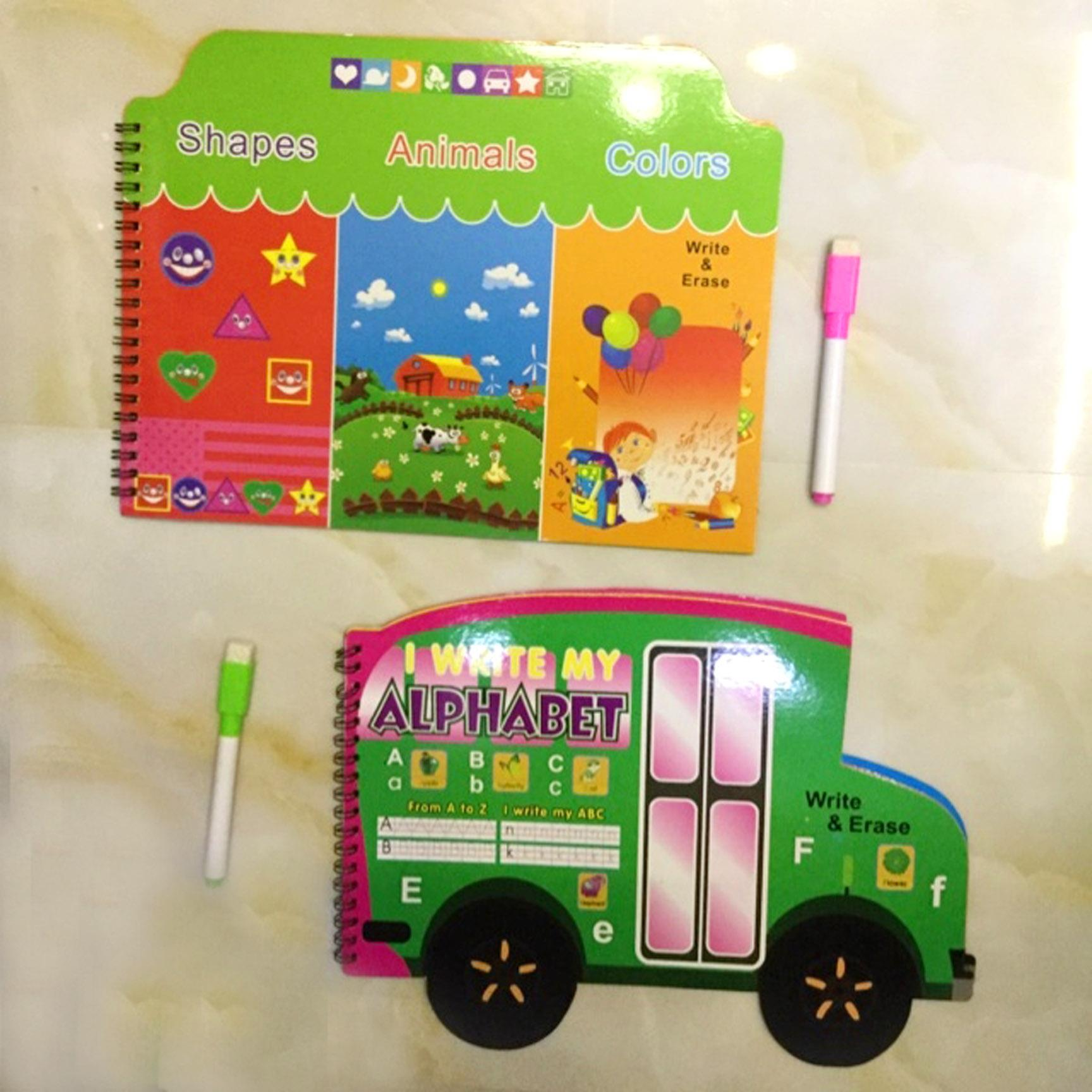Erasable Alphabet & Numbers Writing Book Set For Toddlers Kids - Educational Activity Childrens Book By Tanyabella.
