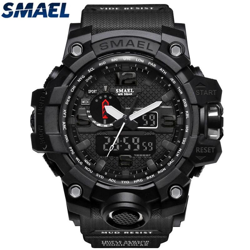SMAEL Brand Waterproof Sports Quartz Watch Men's Watches Fashion Casual Men Military LED Digital Watch