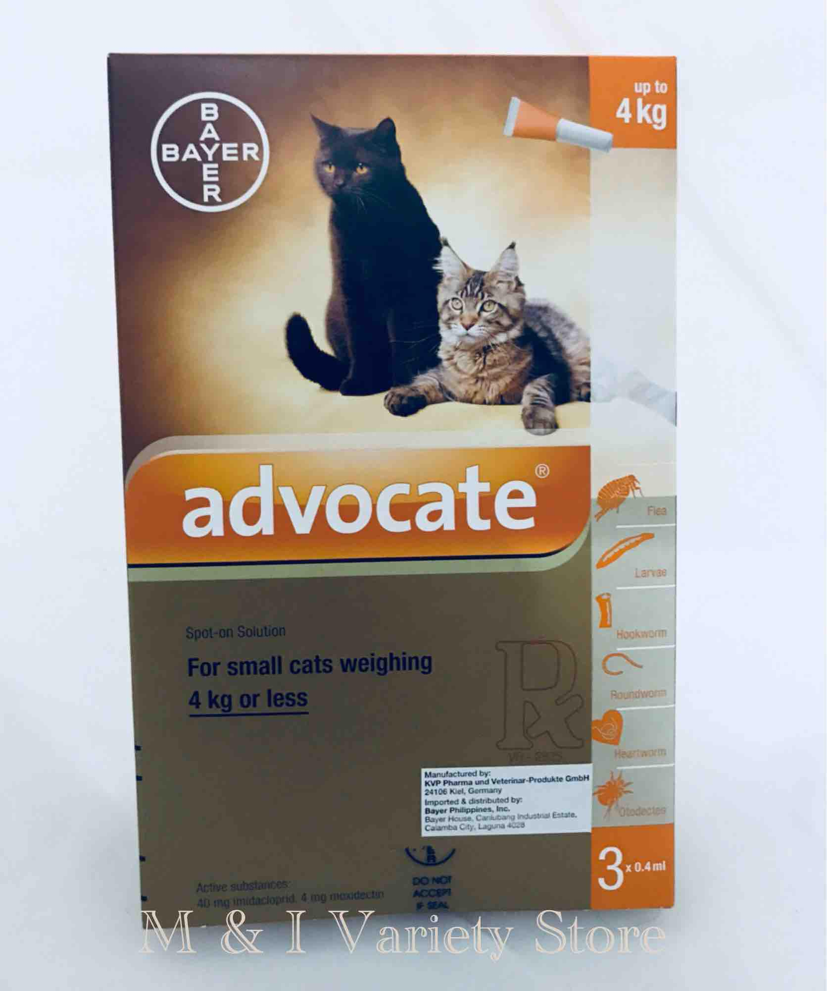 Advocate For Cats Up To 4kg X 3 Tube By M & I Variety Store.