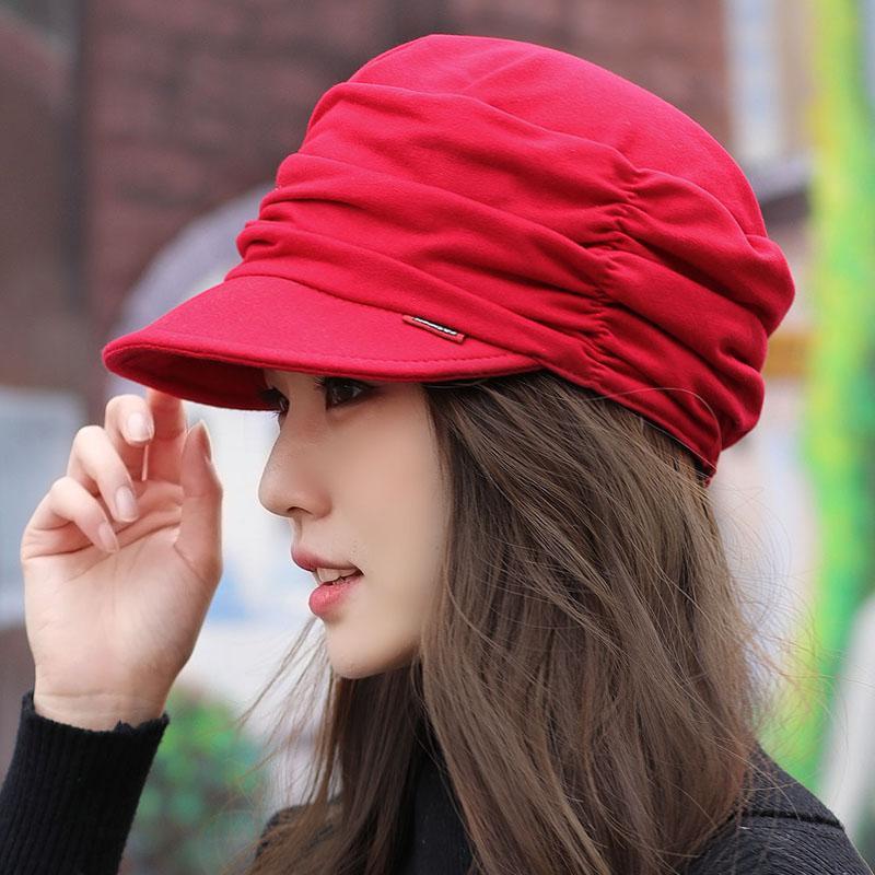 da1ba4a0385 Hat Female Korean Style Fashion Spring Explicit Face Small Flat Cap Mom Cap  Brim Hat Da