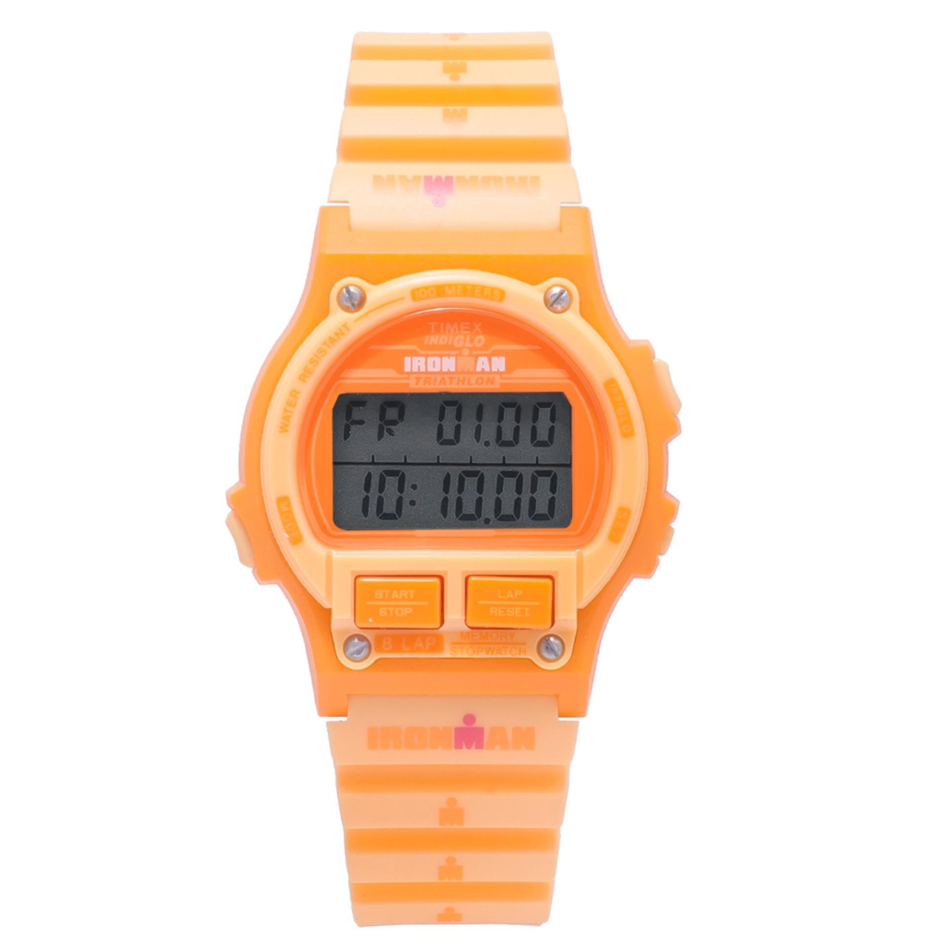 98e83e45d5cc Timex Ironman 8 Lap Orange Digital Rubber Watch TW5M04500 SPORTS