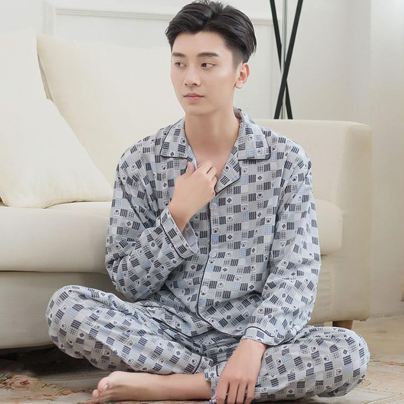 Spring And Summer Men Cotton Pajamas Woven Cotton Cloth Short Sleeve Trousers Cotton Leisure Homewear Set Extra-Large By Taobao Collection.