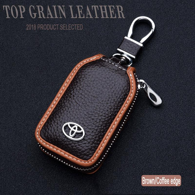 Real Leather Car Key Holder Purse Pouch Organizer Zipper Bag For Toyota - intl