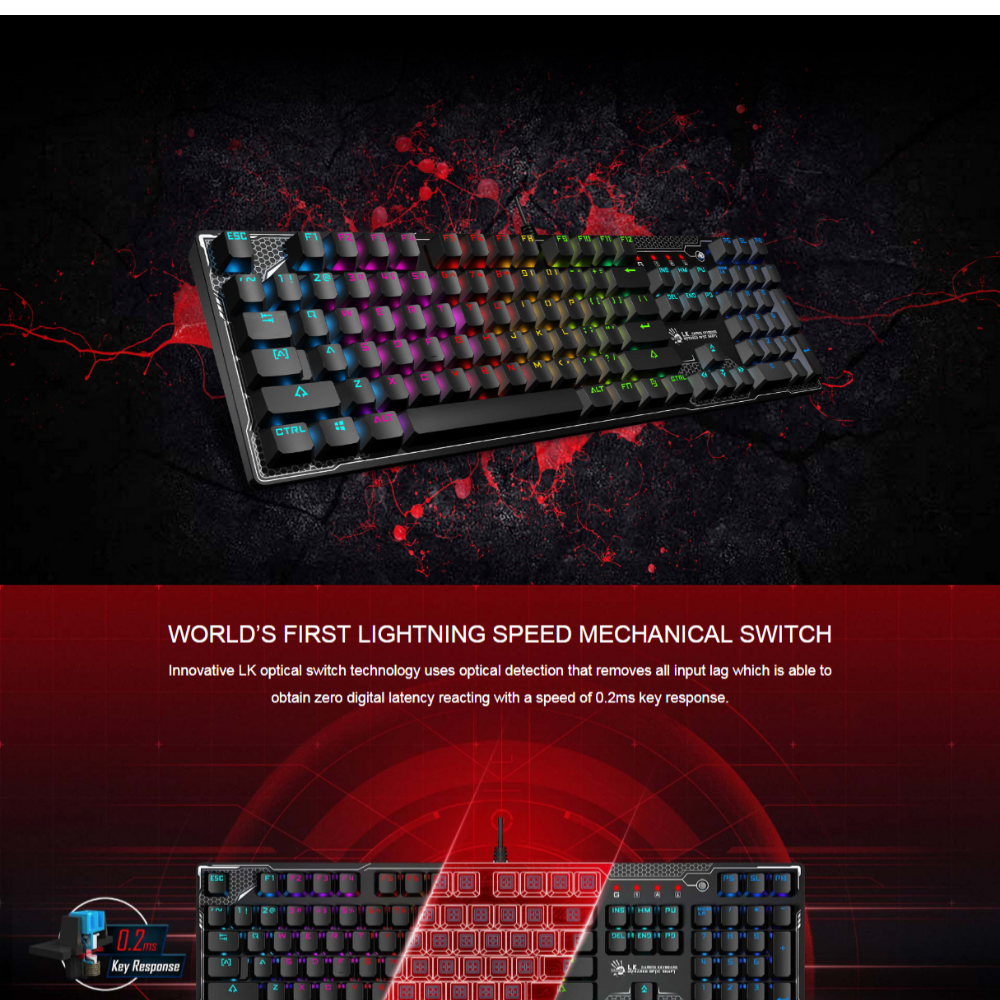 A4Tech Bloody B810R Light Strike RGB Animation Gaming Keyboard