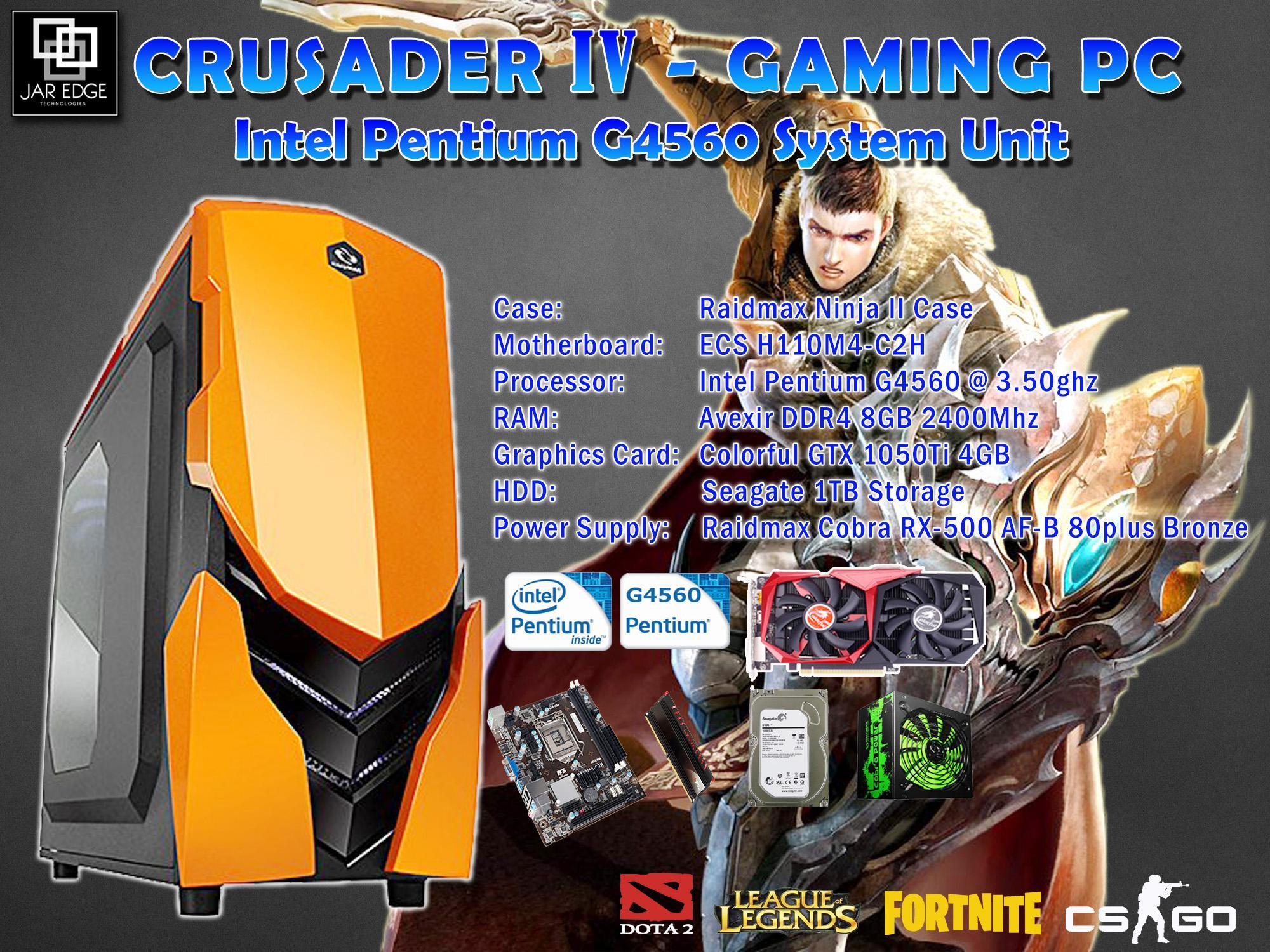 Techessentials Intel Pentium G4600 Gaming E Sports Desktop Set 36ghz Kabylake Socket 1151 Crusader Iv G4560 Pc W Gtx 1050ti 8gb Ram Memory