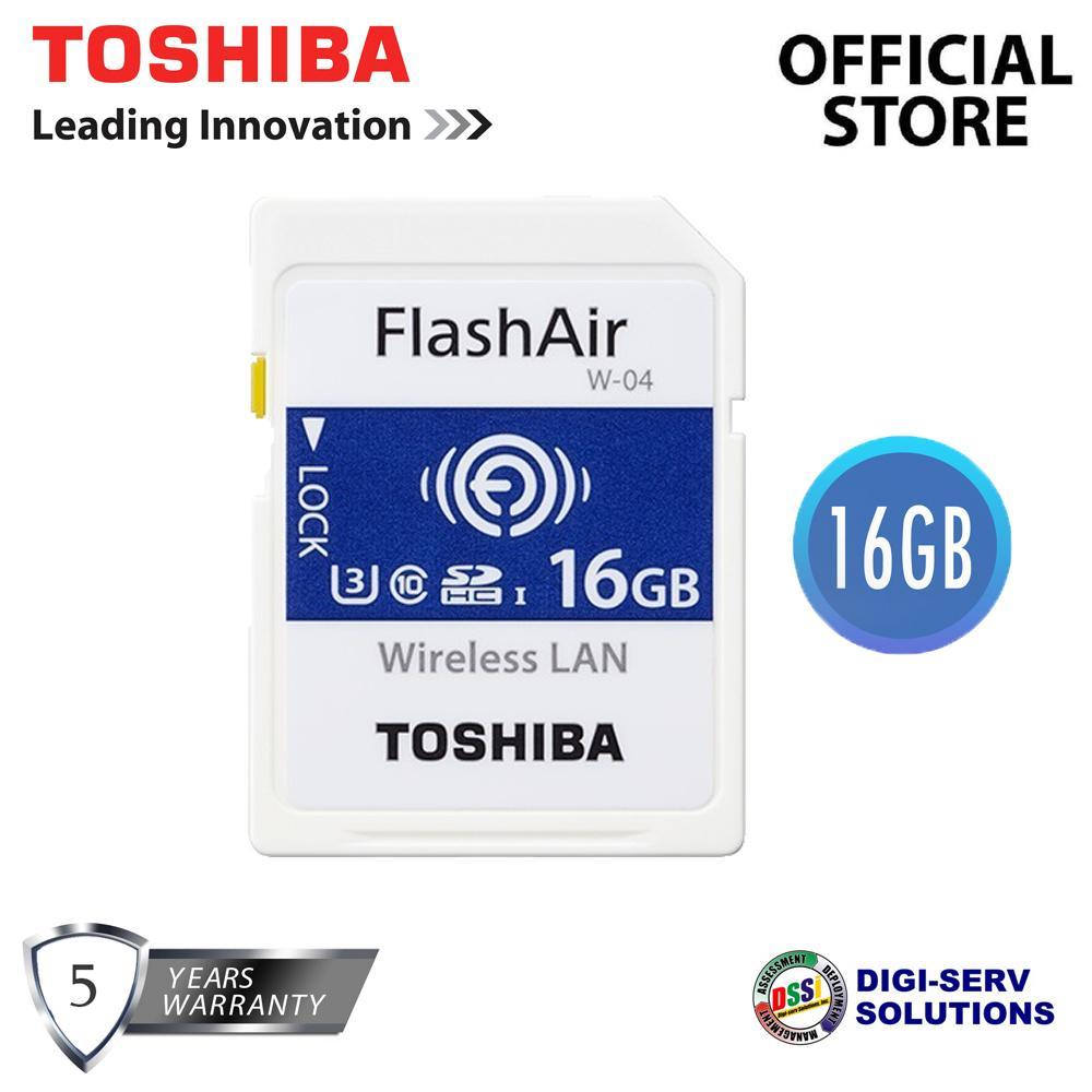 Toshiba Flash Air W-04 Wireless LAN SDHC 16GB UHS-I Class 10 U3 4K Ultra HD  THN-NW04W0160A6 (Speed up to 90MB/s)