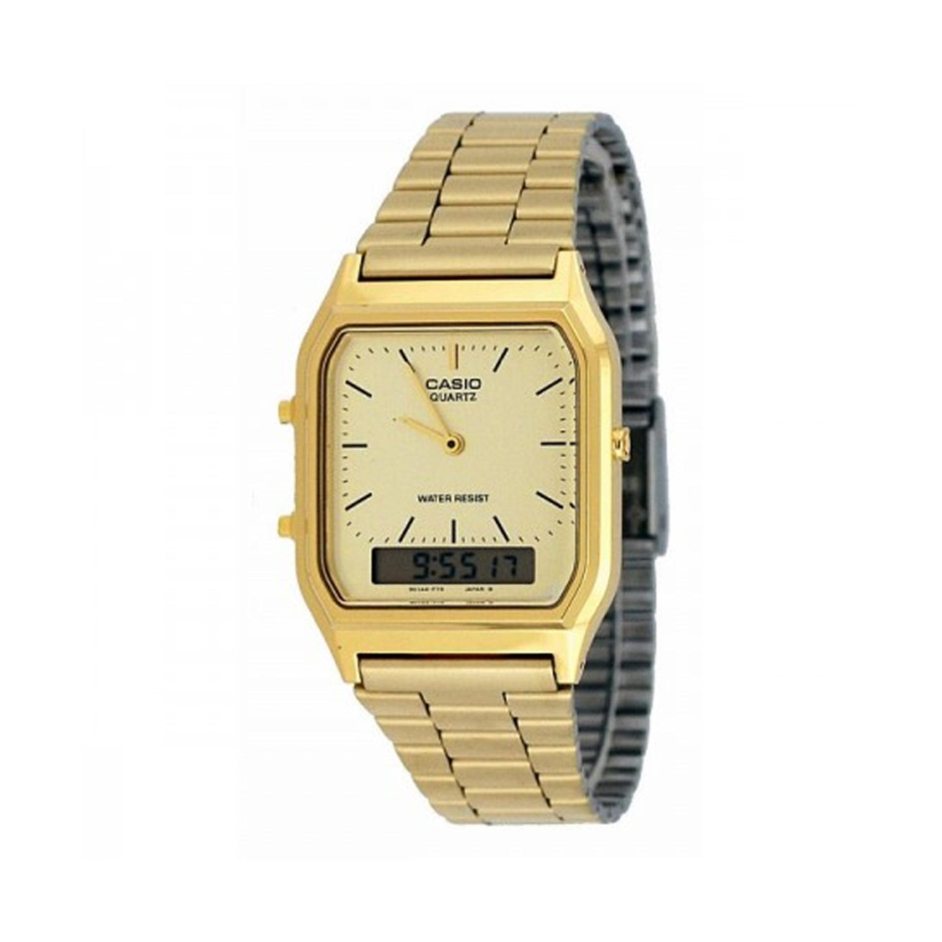 c2d4709d9 Casio Analog Digital Gold Stainless Steel Strap Watch AQ-230GA-9D with 1  year