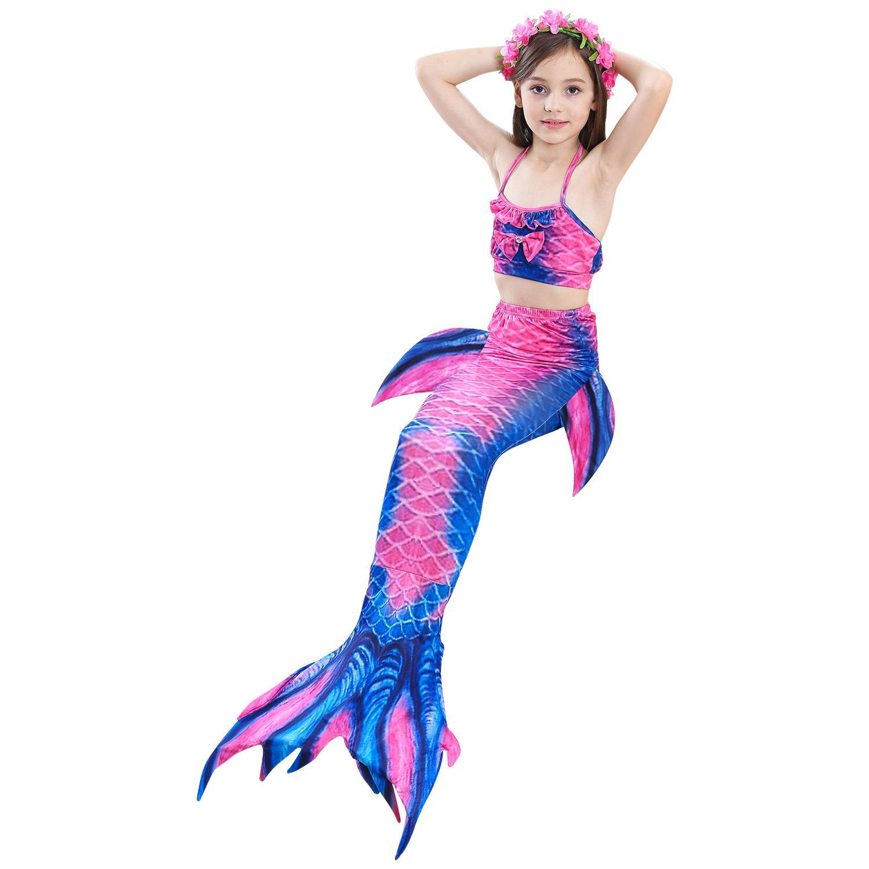 3-12Y Girls Swimsuit baby girl Pink Mermaid Bikini kids swimming swimwear Mermaid tail Costume