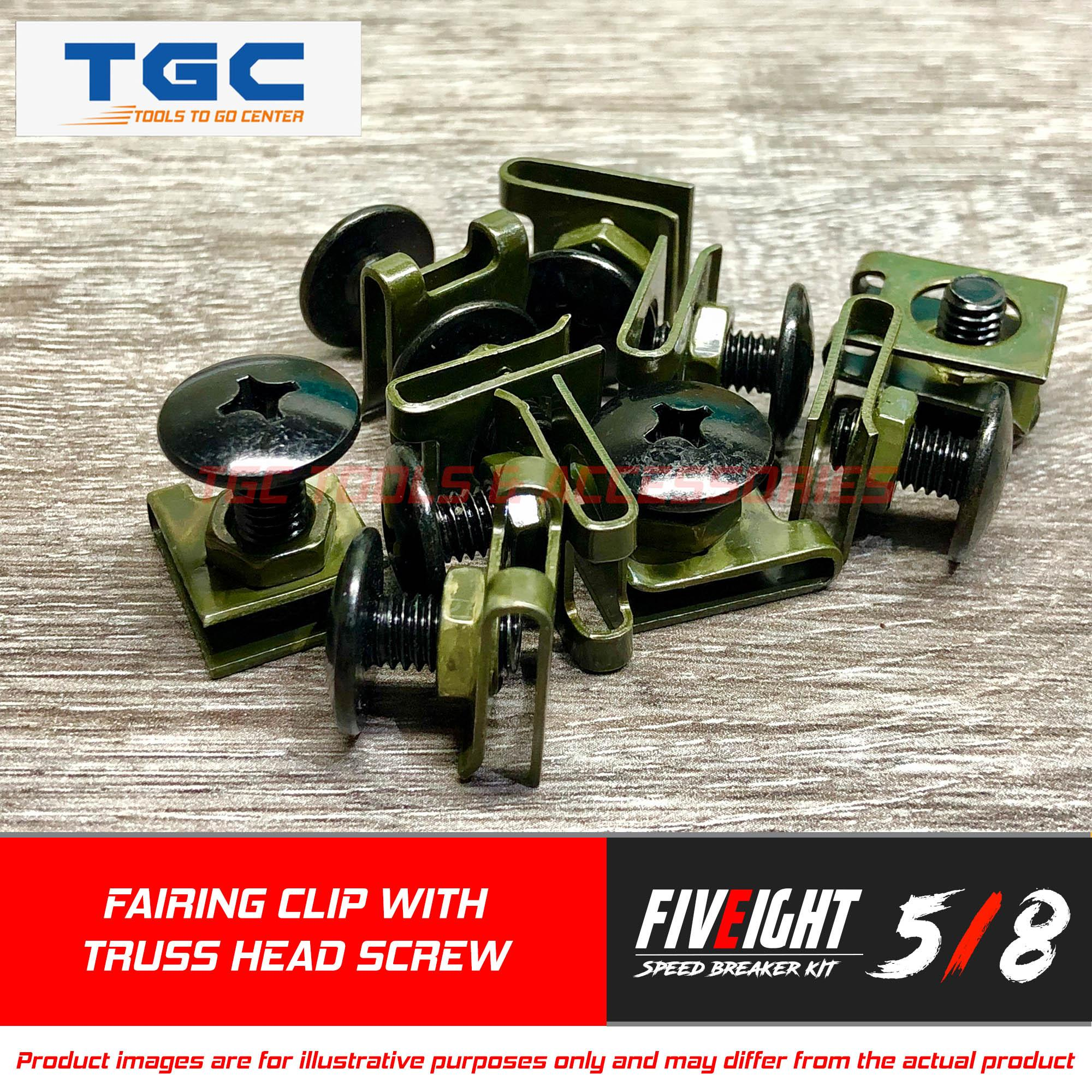 Five Eight Speed 10pcs Motorcycle Fairing Screw Bolt Set M6 X 12mm ( Clip Army Green Color With Black Truss Head Bolt ) Hi-Tensile Fastener Clips Screw Flaring Body Bolt Motor With Clip Nut Tgc By Tgc Tools & Accessories.