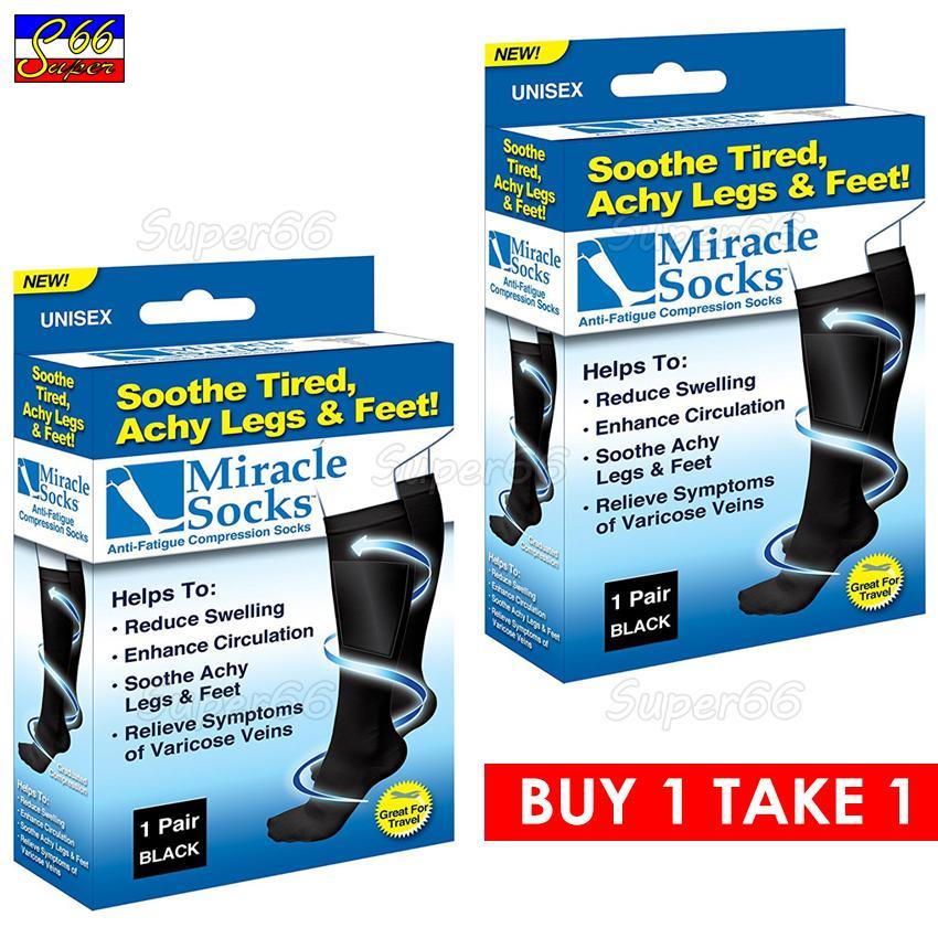 86cc9e75ea Buy1 Take 1 Miracle Socks Anti-Fatigue Compression Socks (Black)